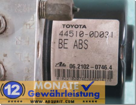 Unidad ABS 44510-0D031 89541-0D040 Ate 06210207464 Toyota Yaris