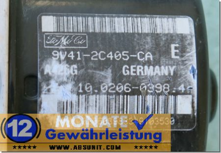 ABS Block 9V412C405CA 10.0206-0398.4 Ate 10096001333 Ford Kuga
