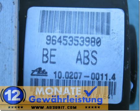 ABS Block 9645353980 10020700114 Ate 10.0970-1102.3 Citroen C2 C3