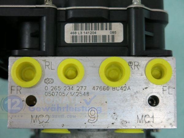 Pompa ABS 47660BC42A 0-265-234-277 Bosch 0265950436 Nissan Micra K12
