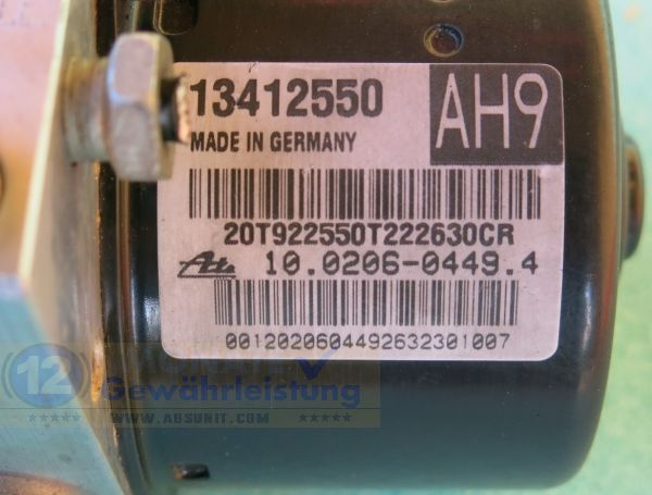 Bloc ABS 13412550 AH9 10020604494 Ate 10.0960-4584.3 Opel Astra