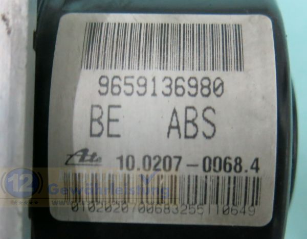 ABS Modul 9659136980 10.0207-0068.4 Ate 10097011283 Peugeot 206