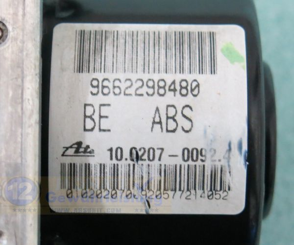 ABS Unit 9662298480 10.0207-0092.4 10097011443 Citroen C3 C2 Peugeot 207