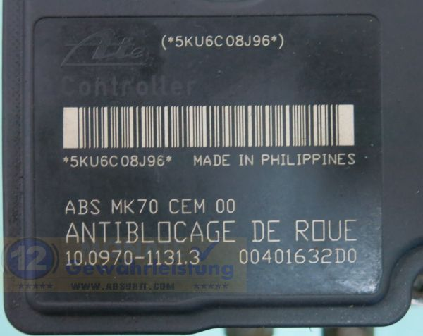 ABS Modul 9661691580 10.0207-0076.4 Ate 10097011313 Peugeot 207